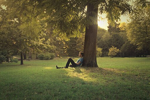 Un homme se repose appuyé contre un arbre